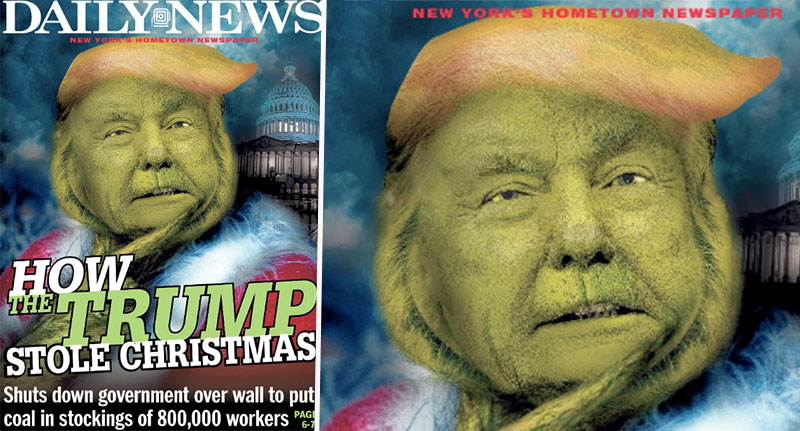 Donald Trump as the grinch on front cover of NY daily news