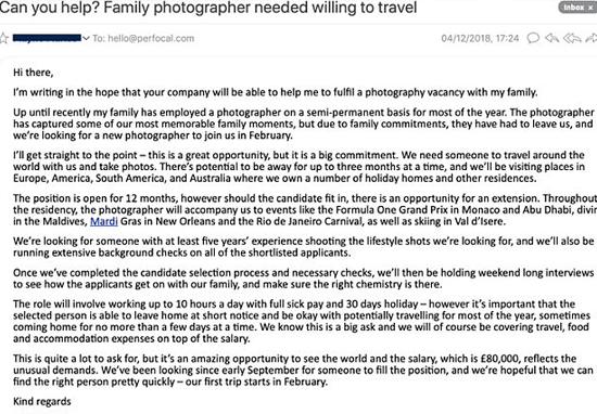 Family add for photographer