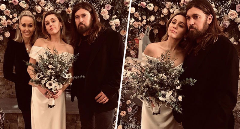 Miley Cyrus poses for wedding photo with parents