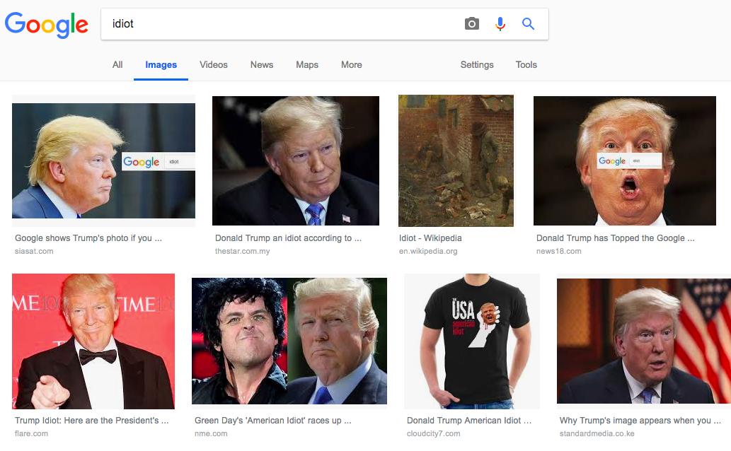 Google shows Trump when you search Google