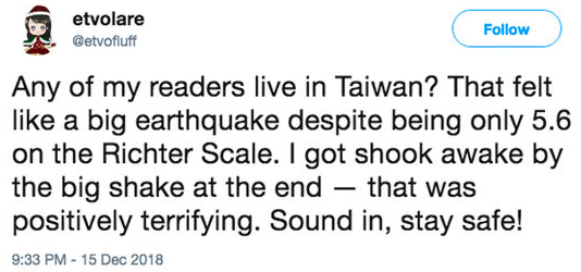 Earthquake tweet