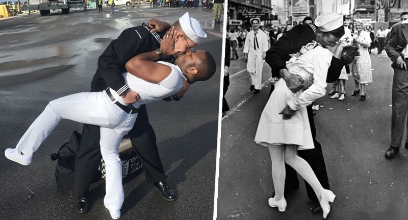 couple recreates ww2 kiss photograph