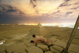 couple on top of pyramid