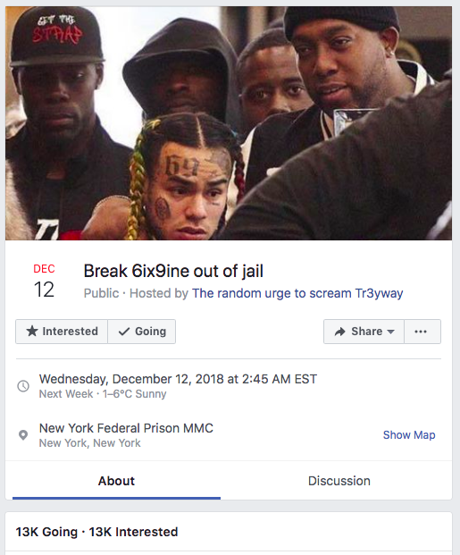Tekashi69 facebook event