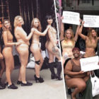 Protesters Strip To Underwear Outside Victoria's Secret In London