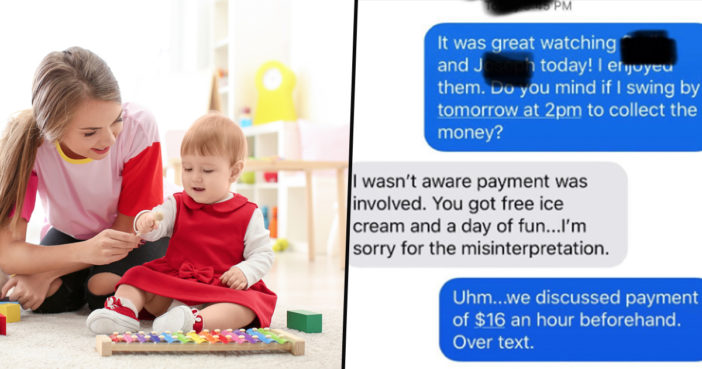 Babysitter receives a shocking text.