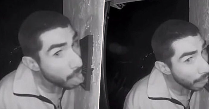 Man caught licking doorbell on CCTV.