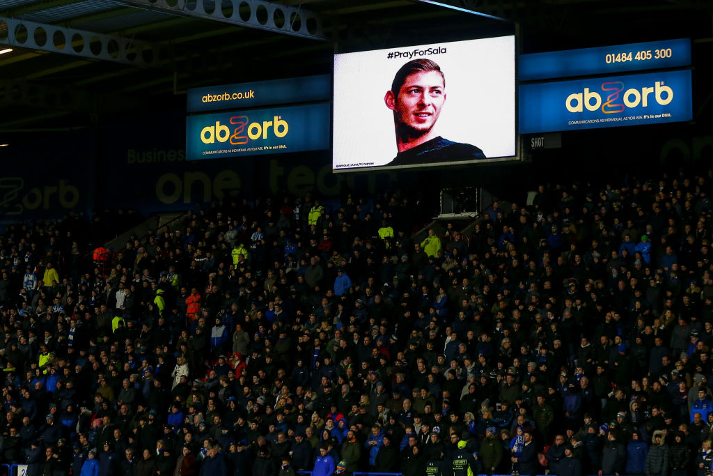 sala on screen at football ground