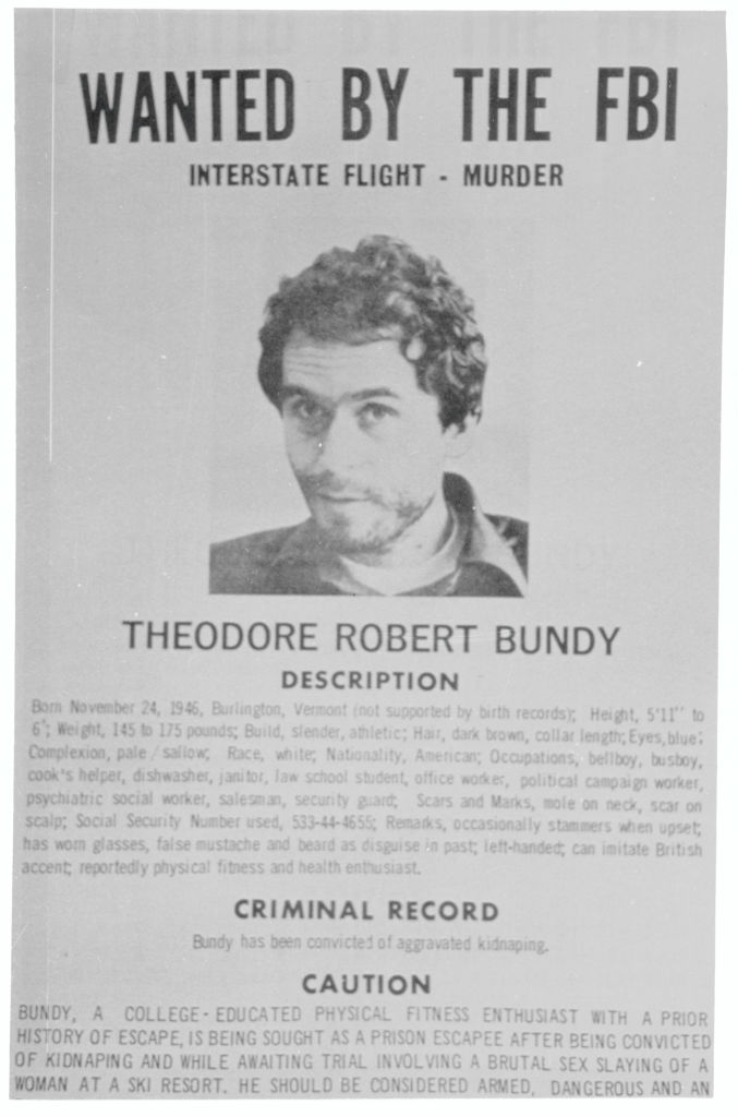 Wanted sign for Ted Bundy