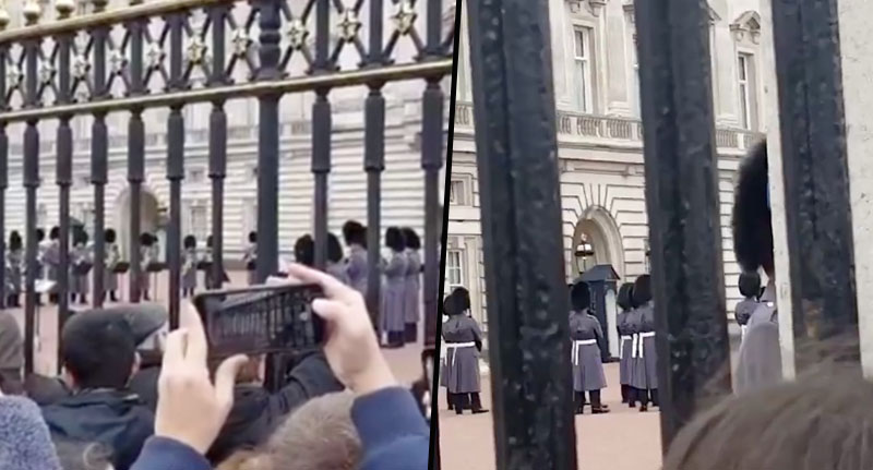 Guards play bohemian rhapsody outside palace