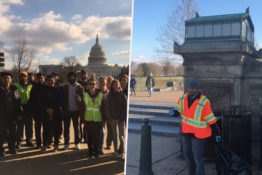 Young muslim men are helping to clean up during shutdown.