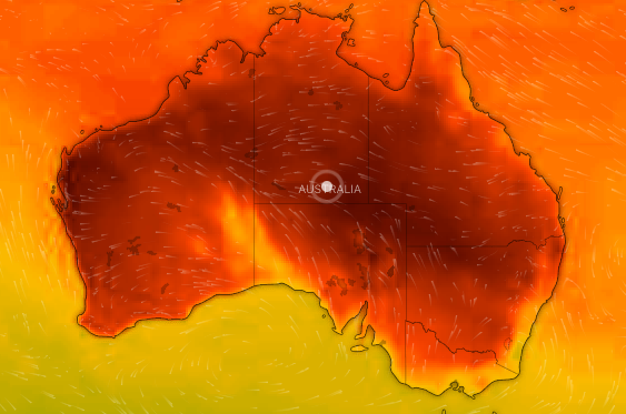 Australia's weather map turns black from heat