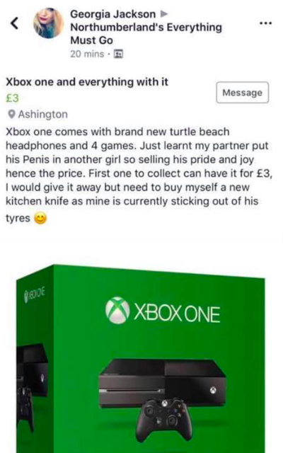 Girl sells cheating boyfriend's xbox for £3