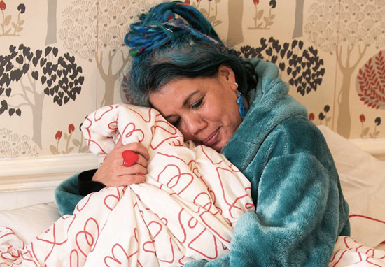 Woman getting married to duvet