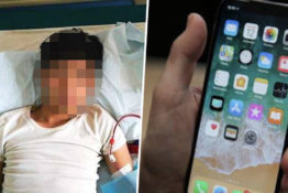 man in hospital bed/iphone