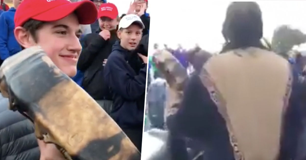 Different views of Native American man supposedly getting mocked by maga hat wearing students