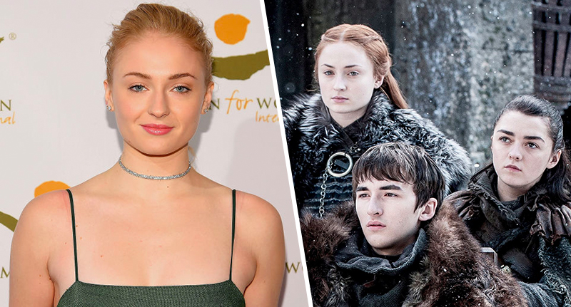 Sophie turner and as her character sansa stark in game of thrones