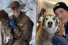 ups delivery driver saves dog frozen lake
