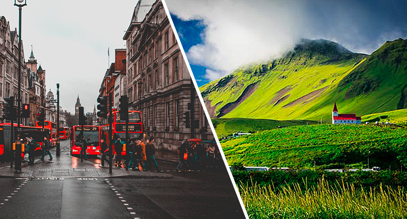 a photo of London, UK, and Iceland