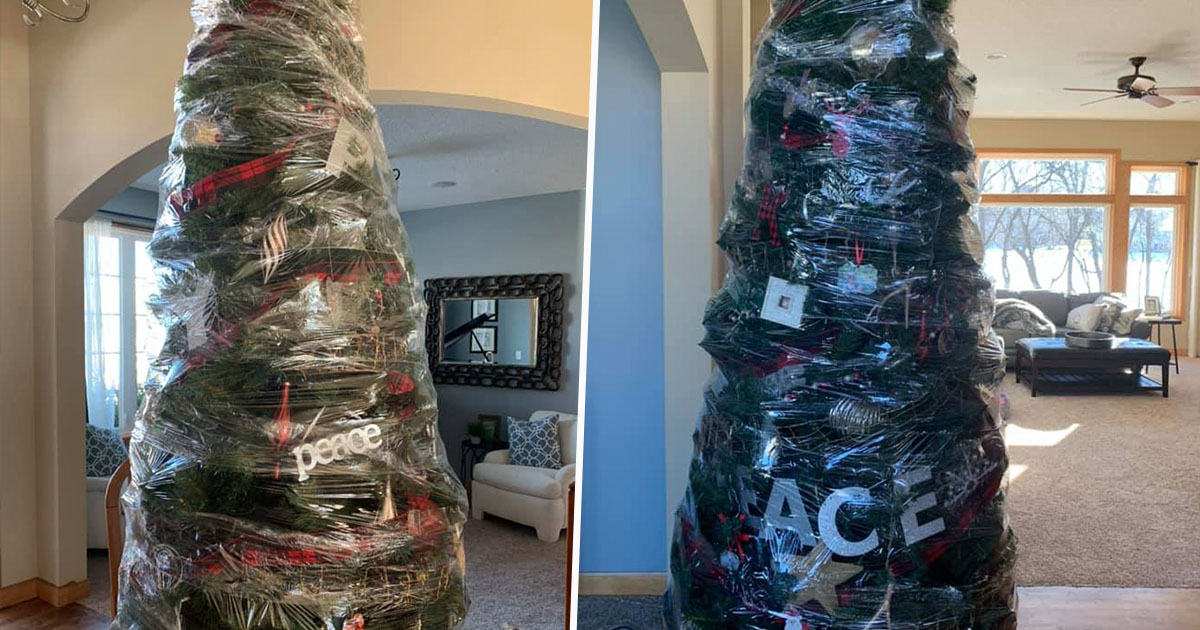 Mum Wraps Christmas Tree In Cling Film To Avoid Decorating It Again