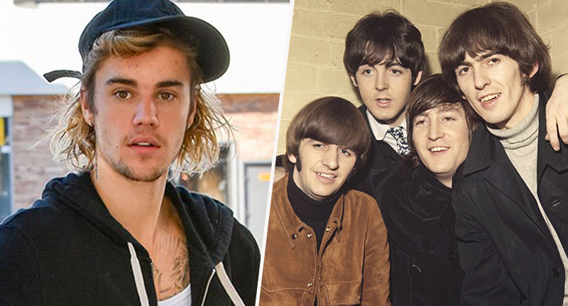 pictures of the beatles and justin bieber