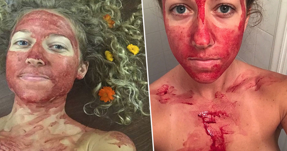 Woman posts pictures of menstrual blood on her face