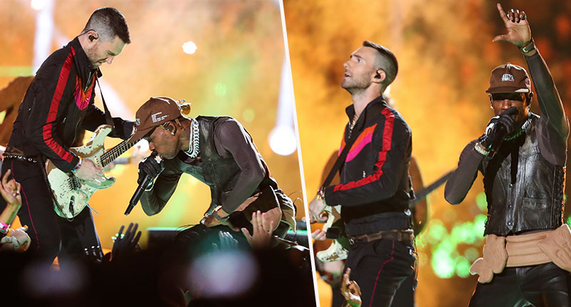 maroon 5 and travis scott at the super bowl
