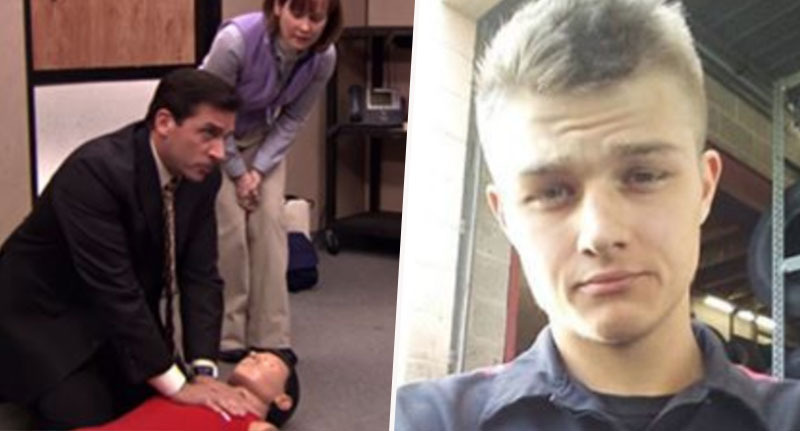 lad does cpr to bee gees stayin alive from the office to save driver
