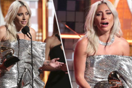Lady Gaga gives emotional speech.
