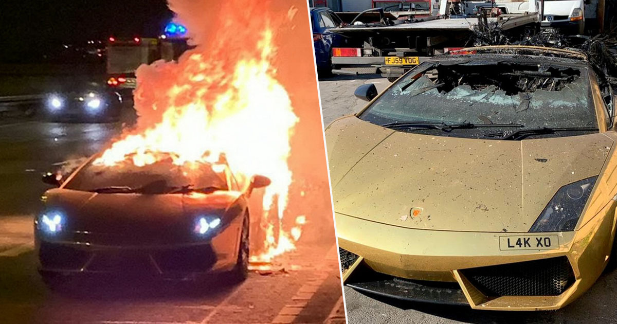 Guy Watches As Gold Plated Lamborghini Explodes After Leaving Garage