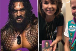 Jason Momoa cookies sold by girl scouts.
