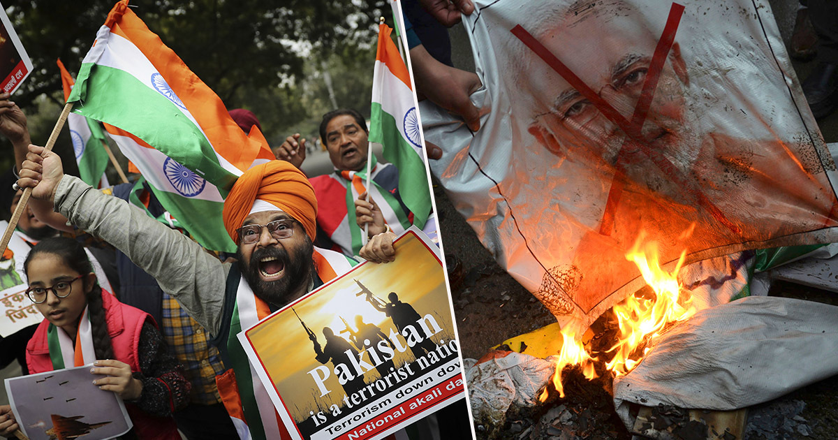 indian and pakistani protesters