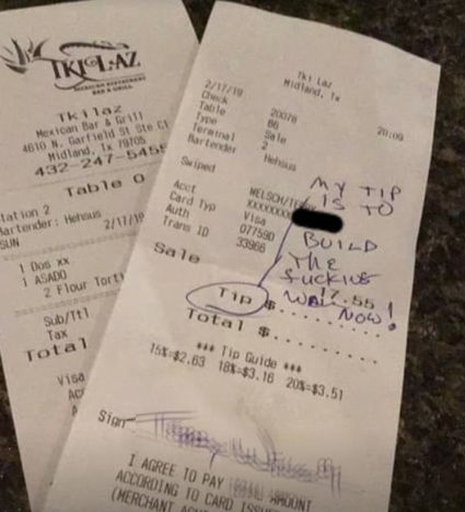 Bartender shares 'racist' receipt.