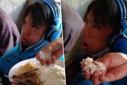 Mum hand feeds son who won't stop playing video games