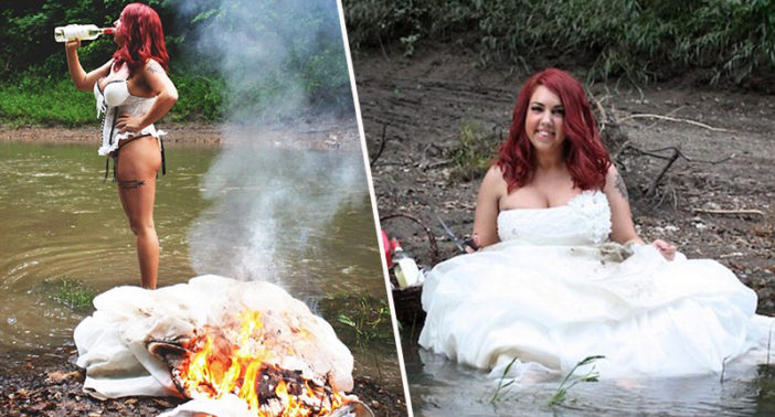 Divorced woman sets dress on fire.