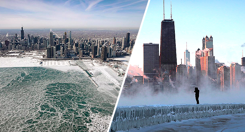 chicago freezes over in polar vortex