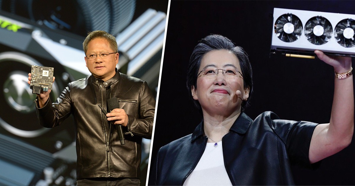 Nvidia and AMD CEO's with GPU's