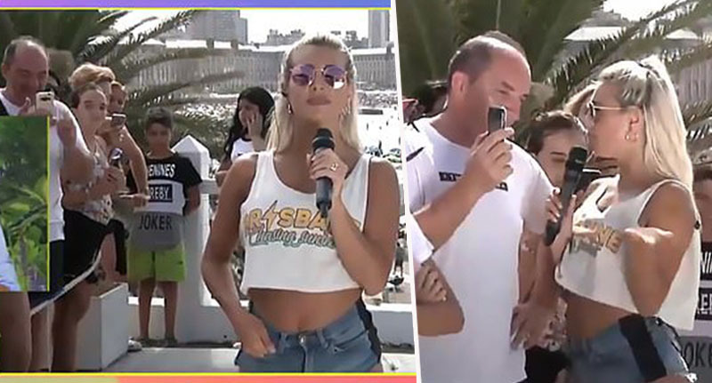 TV Presenter confronts man filming her bum