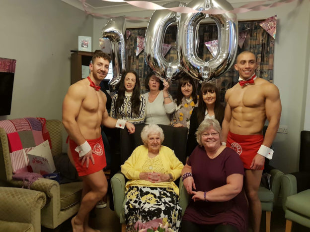 Care home resident celebrates birthday with naked butlers.