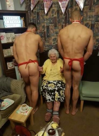 100-year-old woman celebrates birthday with naked butlers.