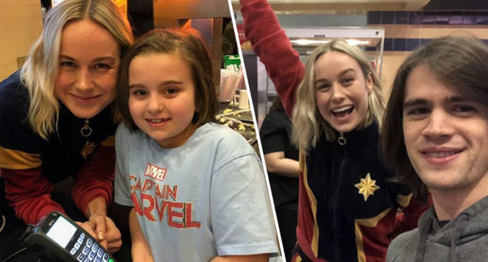 Brie Larson serves fans at cinema.