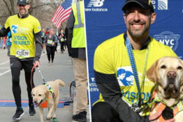 Man runs race with guide dog.