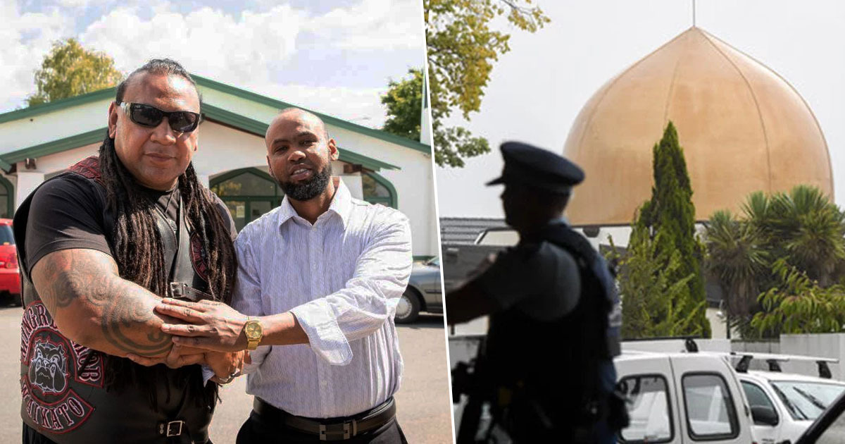 Gang stand guard outside mosque