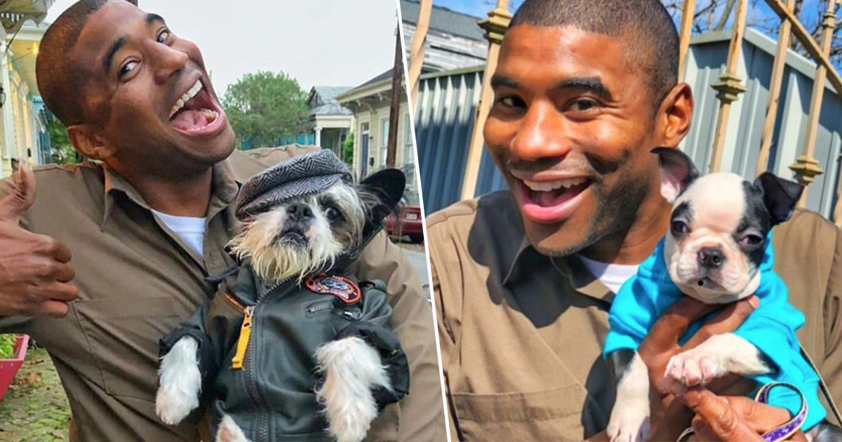 ups man takes pics with dogs