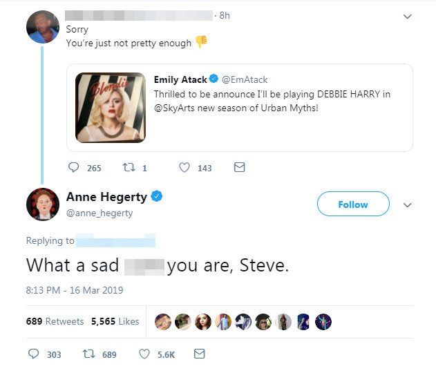 anne hegarty emily atack twitter troll defence