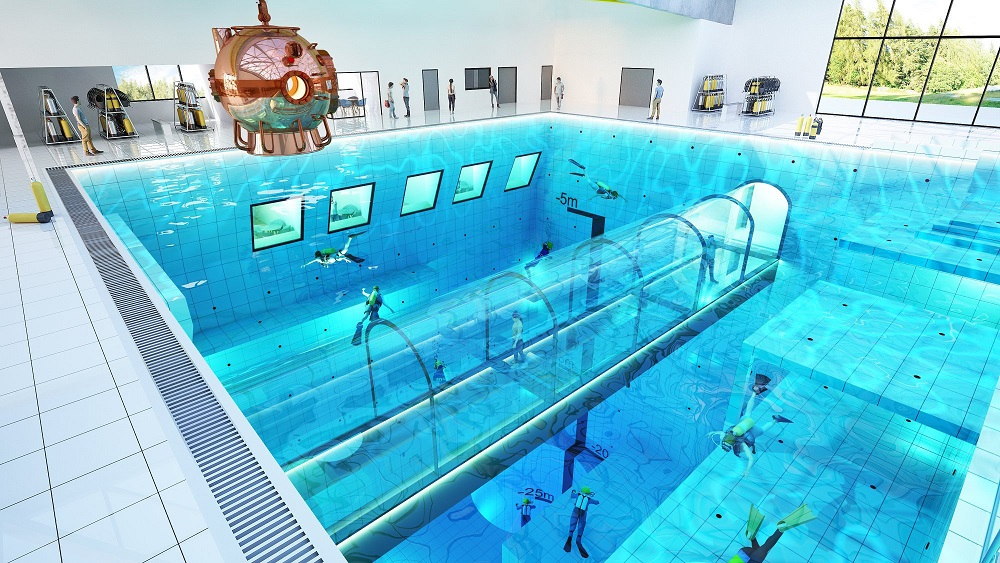 World 39 s deepest swimming pool is opening in poland for Pool design company polen