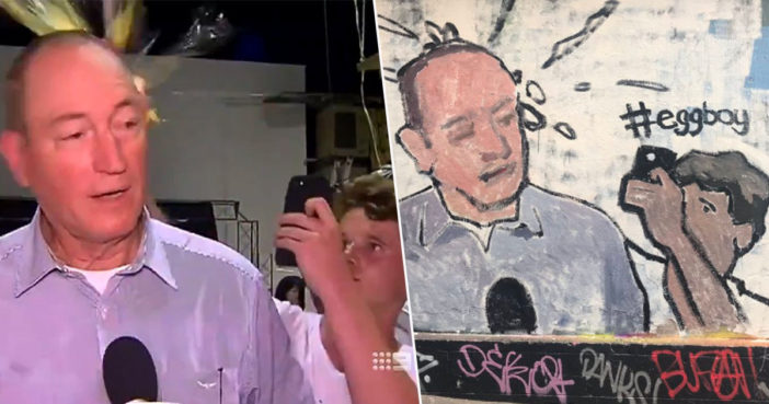 Egg Boy mural is painted in Melbourne.