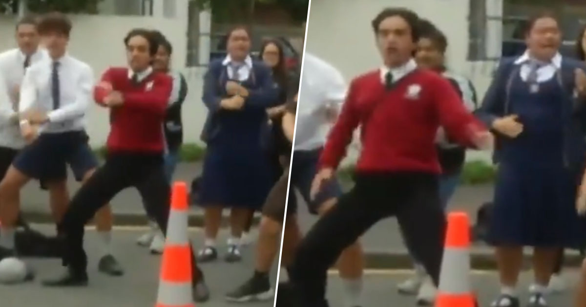 Students perform the haka in honour of New Zealand shooting victims