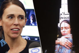 Dubai building lit up with picture of Jacinda Ardern