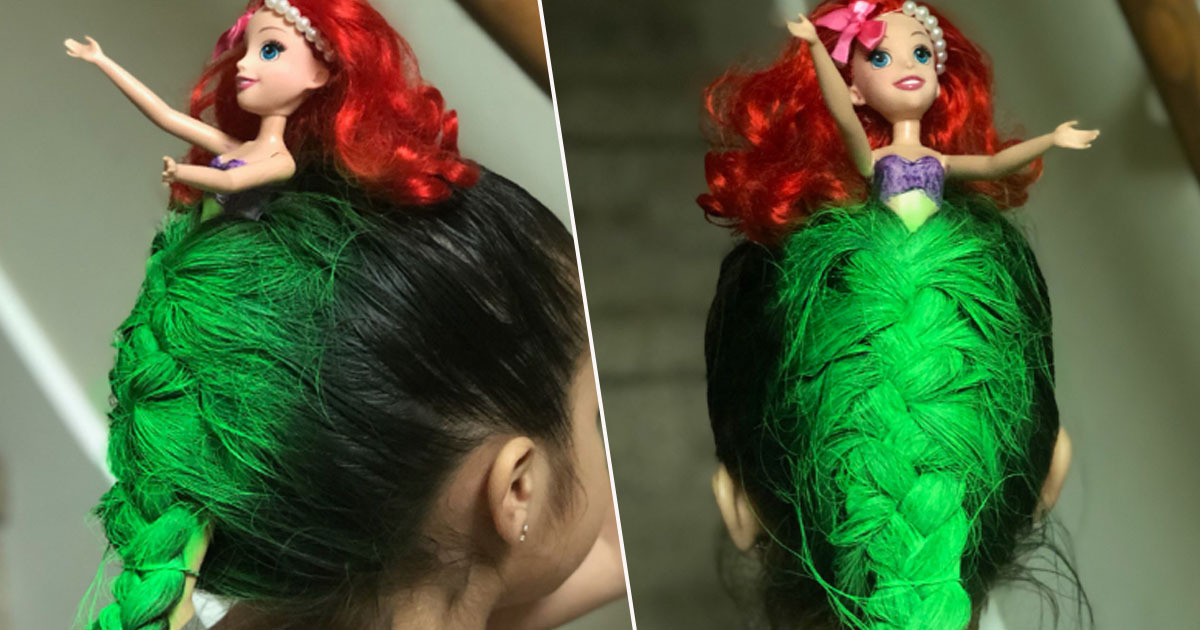 Girl has her hair transformed into the little mermaid
